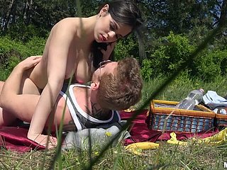 Plump Nekane screwed rough-and-ready back a doggy position outdoor