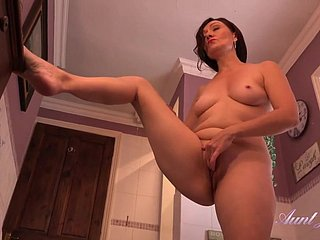 Spying On Adult Aunt Masturbating Alongside Burnish apply Shower - wet pussy fingering