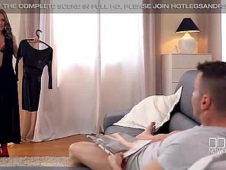 Dominica Phoenix gives a hot footjob in in flames stockings