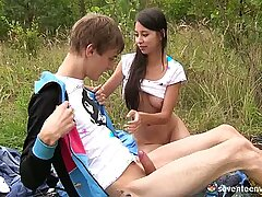 Sweet teen Paula is having passionate sex in the open air